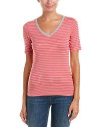 Three Dots - Pink Stripe T-shirt - Lyst