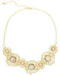 Sparkling Sage - Metallic 14k Plated Crystal Bib Necklace - Lyst