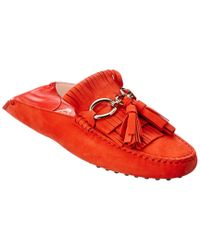 1a9f0bbf1b1 Lyst - Tod s Gommino Fringe Tassel Suede Slip-on Driving Shoe in Red