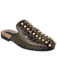 Gucci - Black Princetown Studded Leather Slipper - Lyst