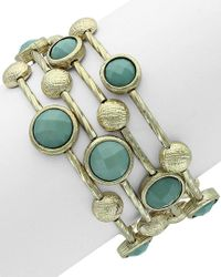 Sparkling Sage - Green 14k Plated Resin Wrap Bracelet - Lyst