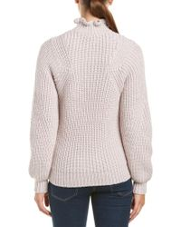 Rebecca Taylor - Pink Ruffle Turtleneck Wool-blend Pullover - Lyst