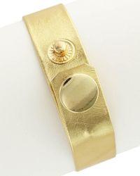 Sparkling Sage - Metallic 14k Plated Faux Leather Bracelet - Lyst