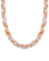 Splendid - Metallic Rhodium Plated Silver 6.5-7mm Freshwater Pearl Necklace - Lyst