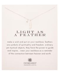 Dogeared - Metallic Silver Feather Necklace - Lyst