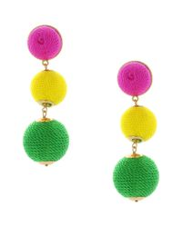 Sparkling Sage - Green 14k Plated Ball Drop Earrings - Lyst