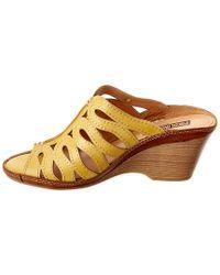 Pikolinos - Yellow Capri Leather Wedge Sandal - Lyst