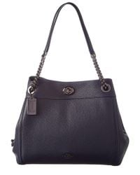 COACH - Blue Edie Leather Turnlock Shoulder Bag - Lyst