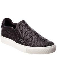 Versace Black Leather Slip-on Sneaker for men