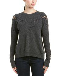 White + Warren - Gray Cashmere Sweater - Lyst