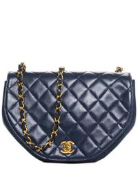 c3e3fa376994 Chanel Navy Quilted Lambskin Leather Half Moon Crossbody in Blue - Lyst