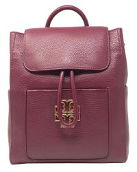 c65d26b8001 Lyst - Tory Burch Britten Leather Backpack in Red