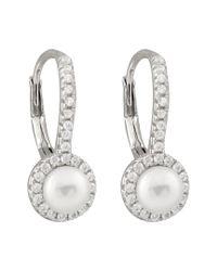 Splendid - Metallic Silver 5-5.5mm Freshwater Pearl & Cz Drop Earrings - Lyst