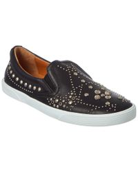 Jimmy Choo - Black Demi Graphic Star Stud Embellished Leather Slip-on Sneaker - Lyst