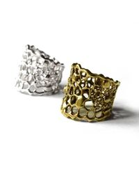 Ayaka Nishi - Metallic Silver Tapered Cell Ring - Lyst