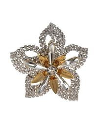 Otazu | Multicolor Rhodium-plated Brooch With Crystal And Gold Swarovski Crystals | Lyst