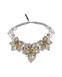 Otazu | Multicolor Rhodium-plated Necklace With Gold And Crystal Swarovski Crystals | Lyst