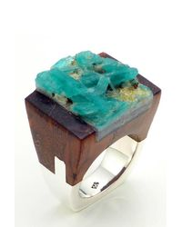 Pasionae | Brown Emerald Wood Ring - Love | Lyst