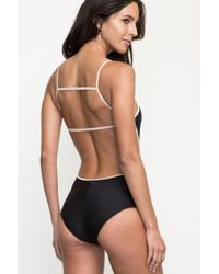 RVCA - Black Frothy Ribbed One-piece - Lyst