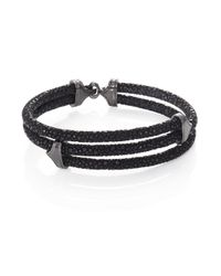 Stinghd - Blackened Silver & Stingray Triangle Wrap Bracelet for Men - Lyst