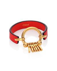 Chloé - Red Marin Fringe Leather Bracelet - Lyst