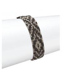 Chan Luu | Metallic Gunmetal, Sterling Silver & Leather Multi-row Beaded Bracelet | Lyst