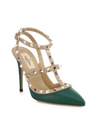 Valentino - Green Rockstud Two-tone Leather Pumps - Lyst