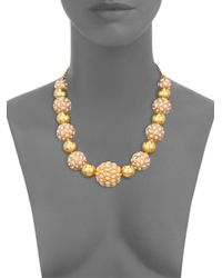 Kenneth Jay Lane - Yellow Cabochon Cluster Beaded Strand Necklace - Lyst