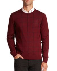 Saks Fifth Avenue | Red Graphic Check Merino Wool Sweater for Men | Lyst