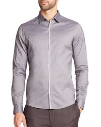 Saks Fifth Avenue | Gray Solid Button-down Shirt for Men | Lyst
