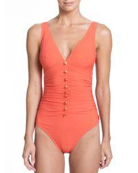 Shan | Orange One-piece Serena V-neck Swimsuit | Lyst