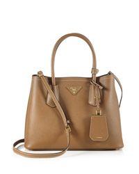 Prada | Brown Saffiano Cuir Small Double Bag | Lyst