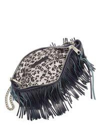 Rebecca Minkoff - Black Finn Large Two-tone Fringed Leather Convertible Crossbody Bag - Lyst