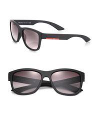 Prada - Black 57mm Rectangle Sunglasses for Men - Lyst