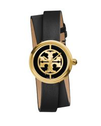 Tory Burch | Metallic Reva Goldtone Stainless Steel & Leather Double-wrap Strap Watch/black | Lyst