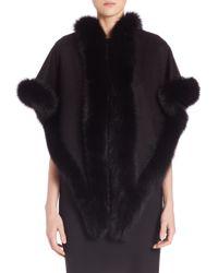 Sofia Cashmere | Black Oblong Fox Fur-trimmed Cashmere Wrap | Lyst