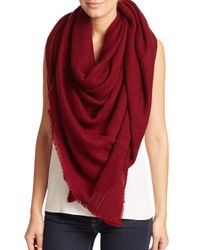 Bajra - Red Felted Wool Net-weave Square Scarf - Lyst
