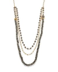 Nest | Metallic Pyrite & Druzy Triple-strand Beaded Necklace | Lyst