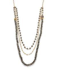 Nest - Metallic Pyrite & Druzy Triple-strand Beaded Necklace - Lyst