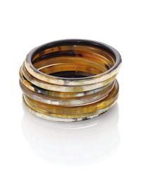 Nest - Brown Natural Horn Seven-bangle Bracelet Set - Lyst