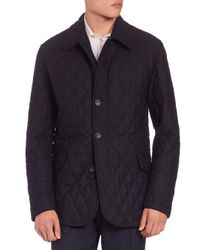 Sanyo | Blue Quilted Wool Twill Coat for Men | Lyst