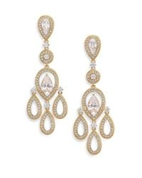 Adriana Orsini | Metallic Pave Pear Chandelier Earrings/goldtone | Lyst