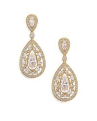 Adriana Orsini | Metallic Pave Crystal Small Pear Drop Earrings/goldtone | Lyst