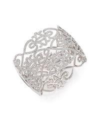 Adriana Orsini | Metallic Statement Pave Crystal Gate Bangle Bracelet/silvertone | Lyst