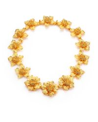 Kenneth Jay Lane | Metallic Satin-finish Flower Necklace | Lyst