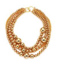 Kenneth Jay Lane | Metallic Multi Strand Bead Necklace | Lyst