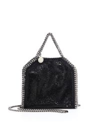 Stella McCartney | Black Falabella Tiny Baby Bella Embellished Faux Leather Tote | Lyst