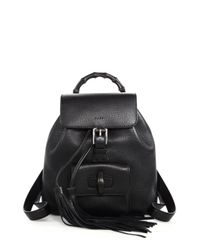Gucci | Black Bamboo Leather Backpack | Lyst