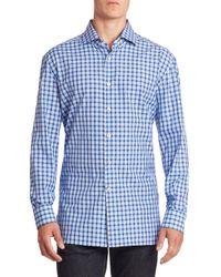 Kiton - Blue Gingham Plaid Casual Shirt for Men - Lyst