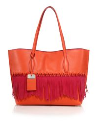 Tod's | Red Joy Medium Two-tone Fringed Leather & Suede Tote | Lyst